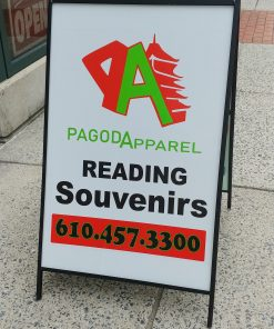 Pagoda Apparel logo Sidewalk sign outsidein from of the store on Cherry Street in Reading PA