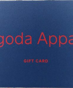 Navy Blue Rectangular gift Card with Pagoda Apparel printed in Red