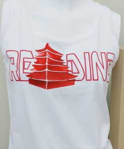 Ladies White Tank Top with Reading in Red