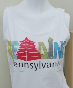Ladies White Tank Top with Reading printed in multiple colors. Pennsylvania is printed under Reading.